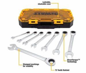 DEWALT DWMT74733 Tough Box 8 PC SAE Ratcheting Combination Wrench Set Reviews